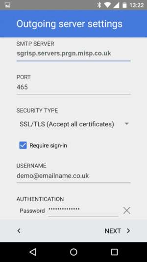 select security type of SSL (Accept all certificates).